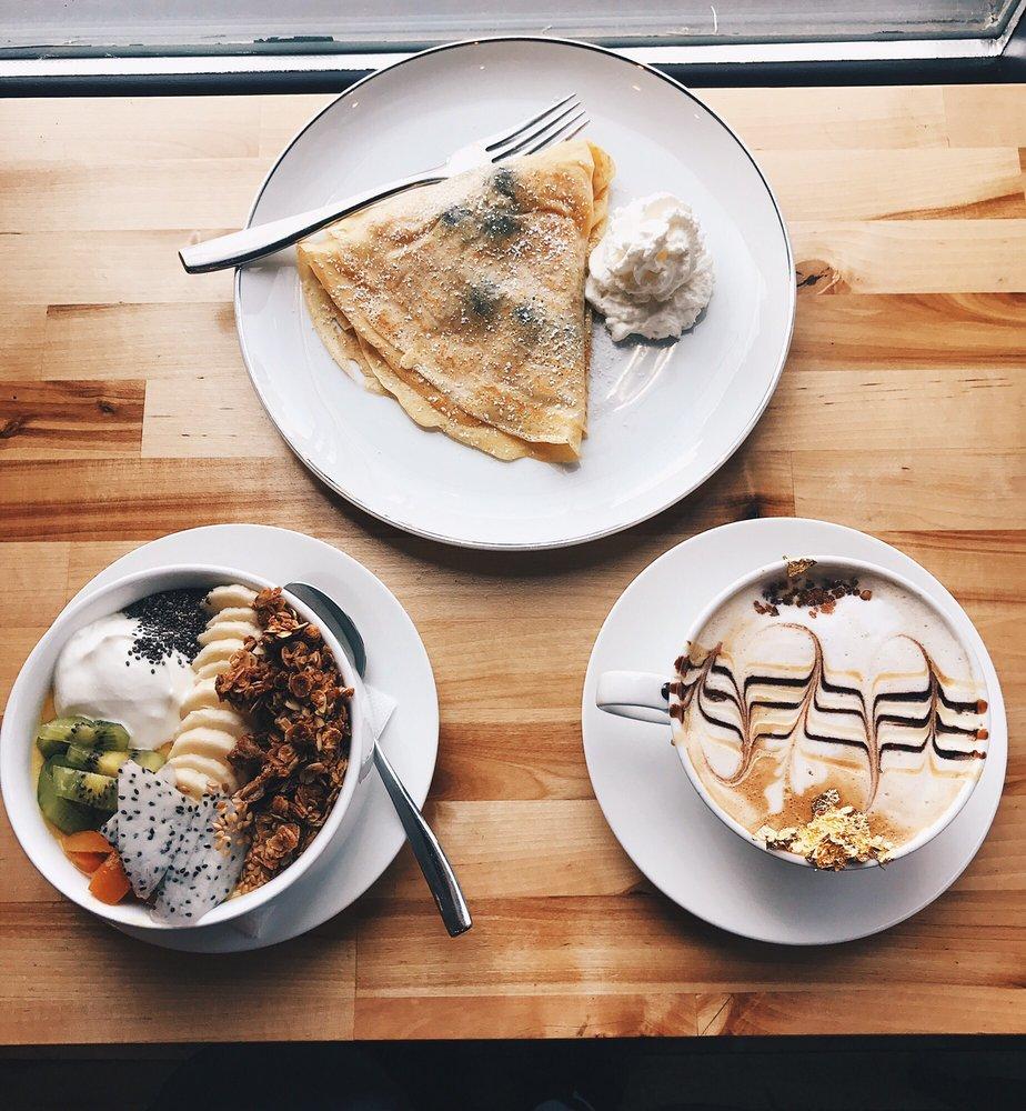 Crepe, Bowl and Latte