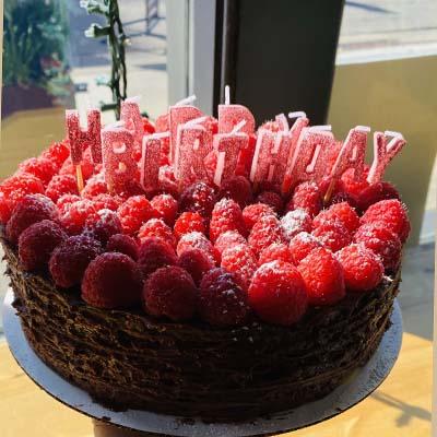 Happy Birthday Raspberry Crepe Cake